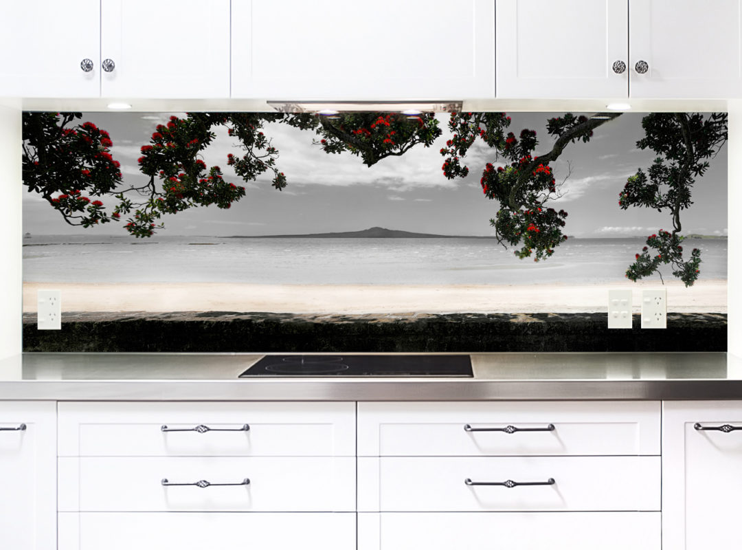 printed glass backsplash for kitchen